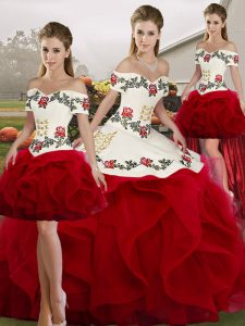 Elegant Floor Length Lace Up Ball Gown Prom Dress White And Red for Military Ball and Sweet 16 and Quinceanera with Embroidery and Ruffles