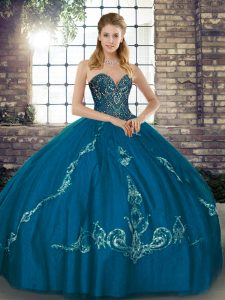 Eye-catching Blue Sleeveless Tulle Lace Up 15th Birthday Dress for Military Ball and Sweet 16 and Quinceanera