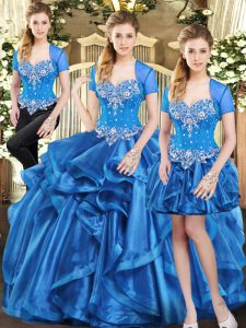 Blue Organza Lace Up Sweetheart Sleeveless Floor Length Sweet 16 Dresses Beading and Ruffles