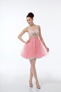 Wonderful Mini Length Baby Pink Cocktail Dresses Sweetheart Sleeveless Zipper