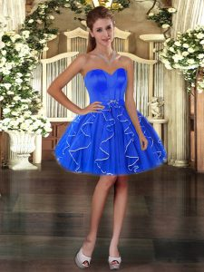 Blue Sweetheart Neckline Ruffles Cocktail Dresses Sleeveless Lace Up