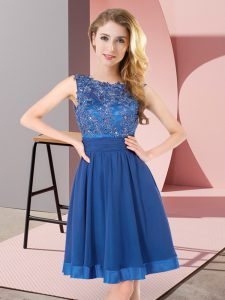 Inexpensive Blue Chiffon Backless Scoop Sleeveless Mini Length Quinceanera Court Dresses Beading and Appliques