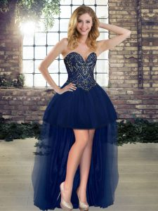Best Selling Sleeveless Tulle High Low Lace Up Prom Dresses in Navy Blue with Beading