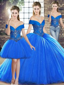 Royal Blue Sleeveless Beading Lace Up Quinceanera Gown