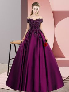 Sleeveless Floor Length Lace Zipper Vestidos de Quinceanera with Purple