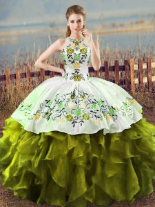 Luxurious Halter Top Sleeveless Ball Gown Prom Dress Floor Length Embroidery and Ruffles Olive Green Organza