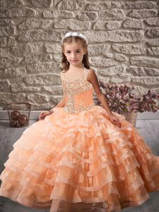 Brush Train Ball Gowns Evening Gowns Orange Straps Organza Sleeveless Lace Up