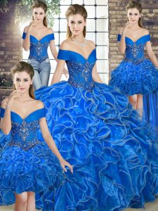 Noble Royal Blue Ball Gowns Organza Off The Shoulder Sleeveless Beading and Ruffles Floor Length Lace Up Sweet 16 Dresses