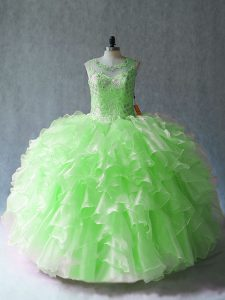 Captivating Scoop Lace Up Beading and Ruffles Quinceanera Dress Sleeveless
