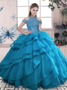 High-neck Sleeveless Organza Vestidos de Quinceanera Beading and Ruffled Layers Lace Up