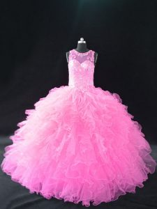 On Sale Lace Up Quince Ball Gowns Baby Pink for Sweet 16 and Quinceanera with Beading and Ruffles
