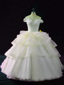 Organza Sleeveless 15 Quinceanera Dress Brush Train and Beading and Ruffled Layers