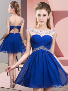 Royal Blue Backless Evening Dress Beading and Ruching Sleeveless Mini Length