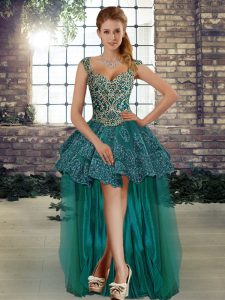 A-line Homecoming Party Dress Dark Green Straps Tulle Sleeveless High Low Lace Up