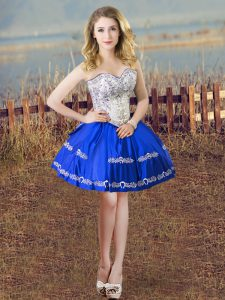 Super Blue And White Sweetheart Lace Up Embroidery Prom Dresses Sleeveless
