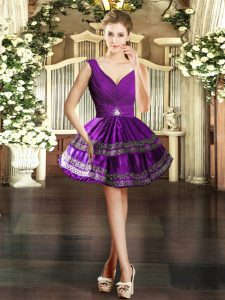 Hot Sale Purple Ball Gowns Embroidery Cocktail Dresses Backless Taffeta Sleeveless Mini Length