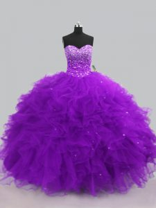 Sweetheart Sleeveless Vestidos de Quinceanera Floor Length Beading and Ruffles Purple Tulle