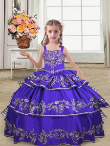 Superior Purple Straps Lace Up Embroidery and Ruffled Layers Pageant Dress Toddler Sleeveless