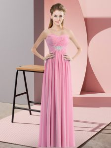 Attractive Empire Prom Party Dress Rose Pink Sweetheart Chiffon Sleeveless Floor Length Zipper