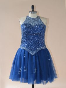 Cheap Mini Length Royal Blue Dress for Prom Tulle Sleeveless Beading