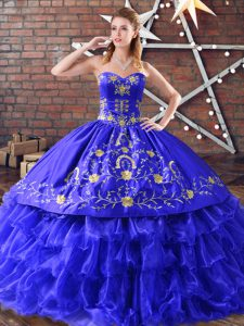Colorful Royal Blue Ball Gowns Embroidery and Ruffled Layers Quince Ball Gowns Lace Up Organza Sleeveless Floor Length