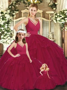 Excellent Burgundy V-neck Neckline Ruching Quinceanera Gowns Sleeveless Lace Up
