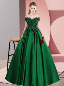 Wonderful Satin Off The Shoulder Sleeveless Zipper Lace Sweet 16 Dress in Green