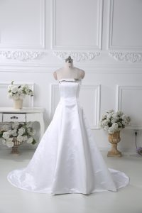 Elegant White Bridal Gown Satin Brush Train Sleeveless Pattern