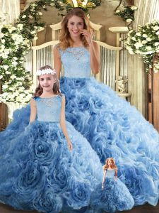 Smart Baby Blue 15th Birthday Dress Military Ball and Sweet 16 and Quinceanera with Lace Scoop Sleeveless Zipper