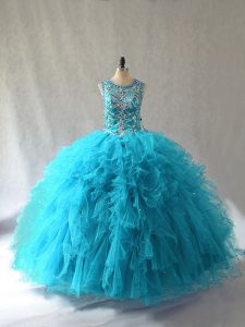 Sleeveless Tulle Floor Length Lace Up Quinceanera Dress in Baby Blue with Beading and Ruffles