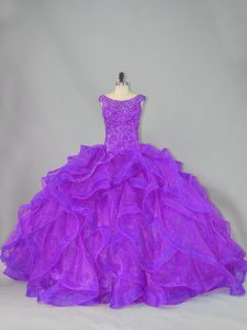Modern Organza Scoop Sleeveless Brush Train Lace Up Beading and Ruffles 15th Birthday Dress in Purple