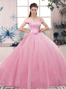 Short Sleeves Lace and Hand Made Flower Lace Up Quinceanera Gown