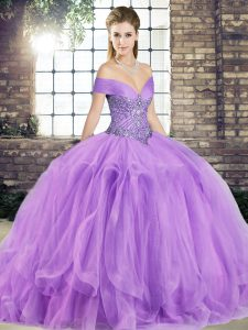 Custom Made Lavender Lace Up Quince Ball Gowns Beading and Ruffles Sleeveless Floor Length