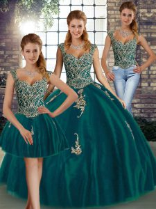 Fantastic Floor Length Peacock Green Quinceanera Dress Straps Sleeveless Lace Up