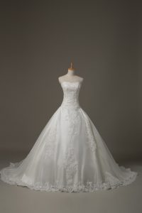 Sweetheart Sleeveless Wedding Gowns Court Train Beading and Lace White Tulle