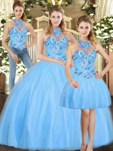 Sumptuous Baby Blue Halter Top Neckline Embroidery Quinceanera Gown Sleeveless Lace Up