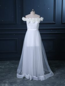 Beauteous White Wedding Gown Tulle Brush Train Sleeveless Hand Made Flower
