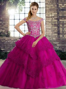 Inexpensive Fuchsia Ball Gowns Off The Shoulder Sleeveless Tulle Brush Train Lace Up Beading and Lace Quinceanera Dresses