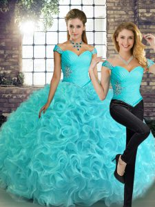 Traditional Floor Length Aqua Blue 15 Quinceanera Dress Fabric With Rolling Flowers Sleeveless Beading