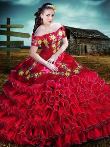 Artistic Red Organza Lace Up Off The Shoulder Sleeveless Floor Length Quinceanera Gown Embroidery and Ruffles