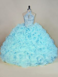 Fantastic Brush Train Ball Gowns Ball Gown Prom Dress Aqua Blue Halter Top Fabric With Rolling Flowers Sleeveless Lace Up