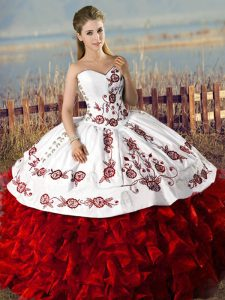 Free and Easy White And Red Sleeveless Floor Length Embroidery and Ruffles Lace Up Quince Ball Gowns