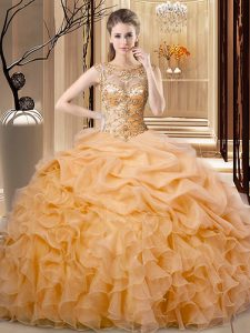 Orange Sleeveless Organza Lace Up Quinceanera Gowns for Sweet 16 and Quinceanera