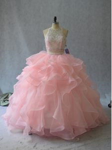 Customized Backless Quinceanera Gowns Peach for Sweet 16 and Quinceanera with Beading and Ruffles
