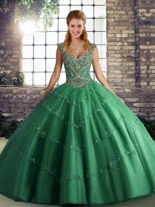 Sleeveless Tulle Floor Length Lace Up 15th Birthday Dress in Green with Beading and Appliques