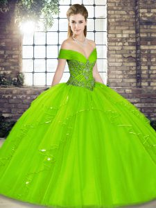 Lace Up Off The Shoulder Beading and Ruffles Sweet 16 Dress Tulle Sleeveless