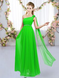 Floor Length Dama Dress Chiffon Sleeveless Beading and Hand Made Flower