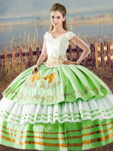 Fine Sleeveless Lace Up Floor Length Embroidery and Ruffled Layers 15 Quinceanera Dress