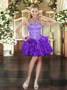 Exceptional Purple Lace Up Halter Top Beading and Ruffles Celebrity Evening Dresses Organza Sleeveless