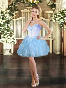 Customized Beading and Ruffles Prom Evening Gown Light Blue Lace Up Sleeveless Mini Length